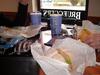 Lunch spread at Bruegger's