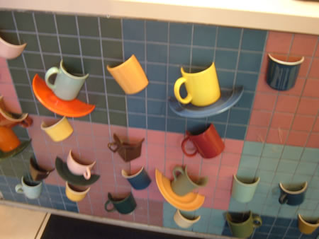Cup wall at Cuppa Jo